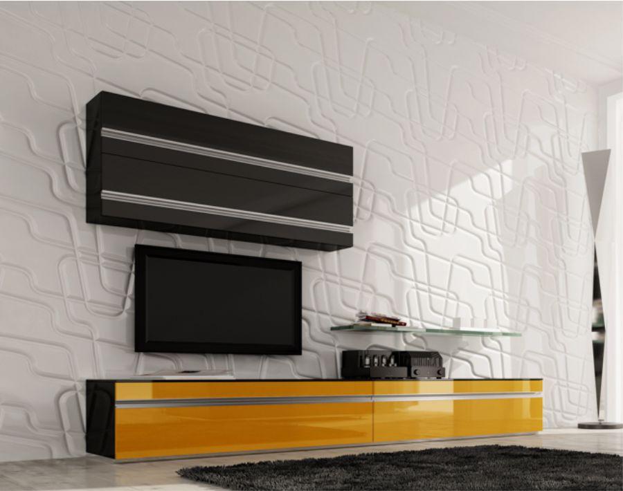 amenajare living perete placat 3d mdf fronturi mobilier vopsite lucios