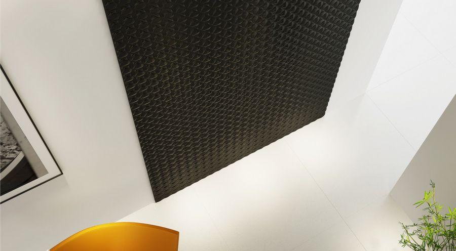 panel mdf 3d vopsit negru aplicat pe peretele unei camere cu vedere de sus