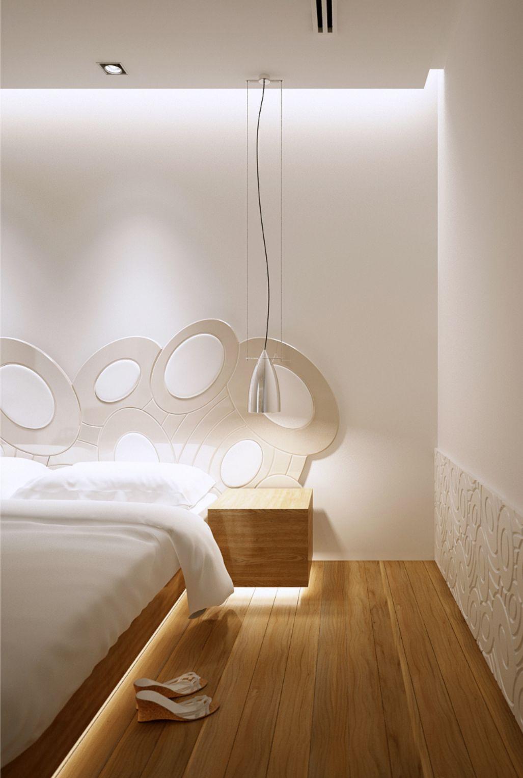 poza ambient dormitor pat cu tablie din mdf vopsit alb decupaje forma ovalizata