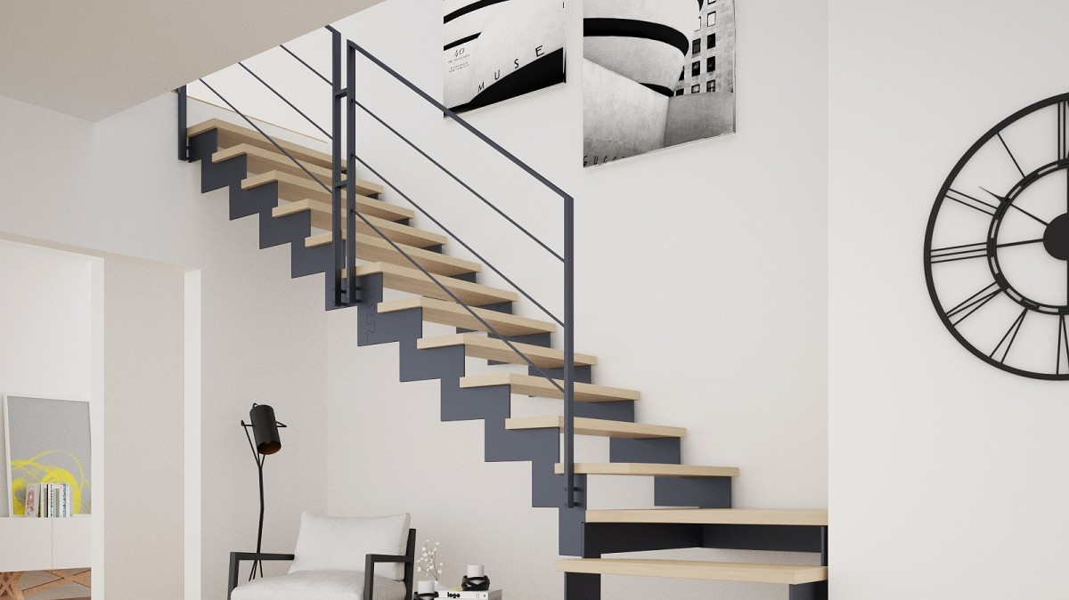 balustrada minimalista scara interioara trepte lemn