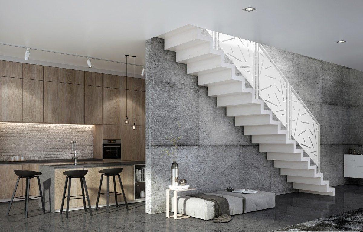scara interioara living amenajat modern si balustrada panouri decorative mdf
