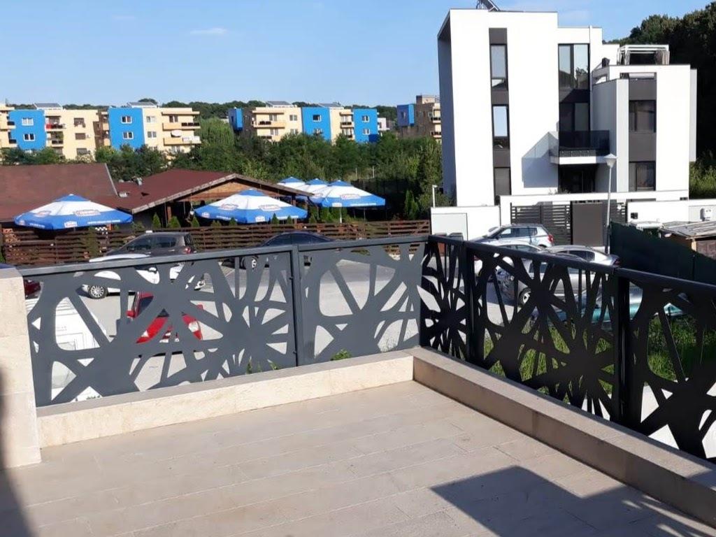vedere de pe terasa unui imobil starjuita de balustrada decorativa