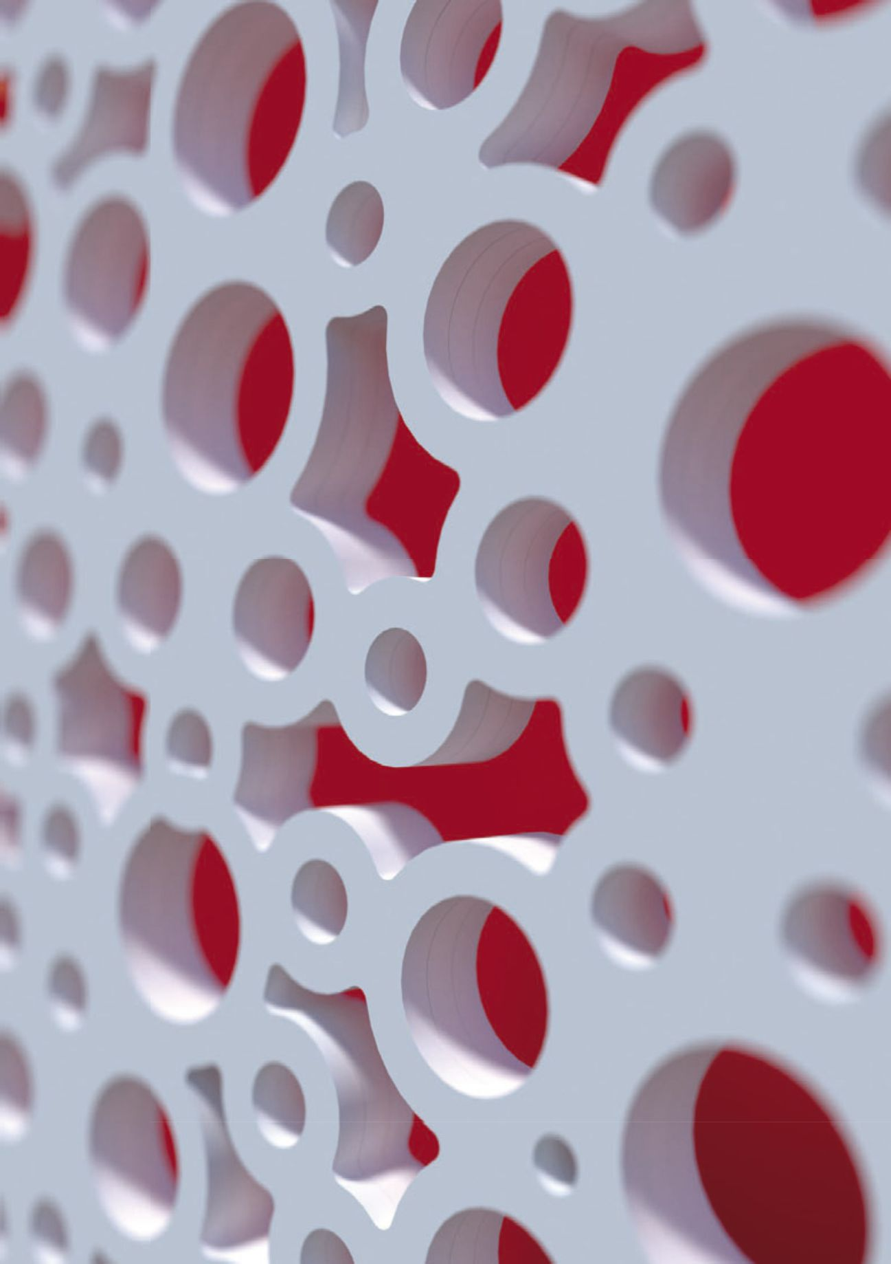 panou mdf vopsit alb cu decupaje cercuri, pe fundal culoare rosu