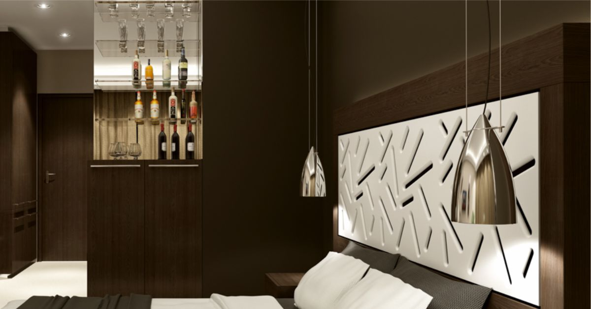 dormitor modern cu pat avand tablia din panou mdf traforat