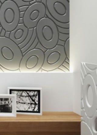 amenajare interioara camera dormitor tablie pat traforata vopsita verde, perete decorativ 3d culoare gri antracit, masca calorifer mdf alb cu decupaje forme ovale