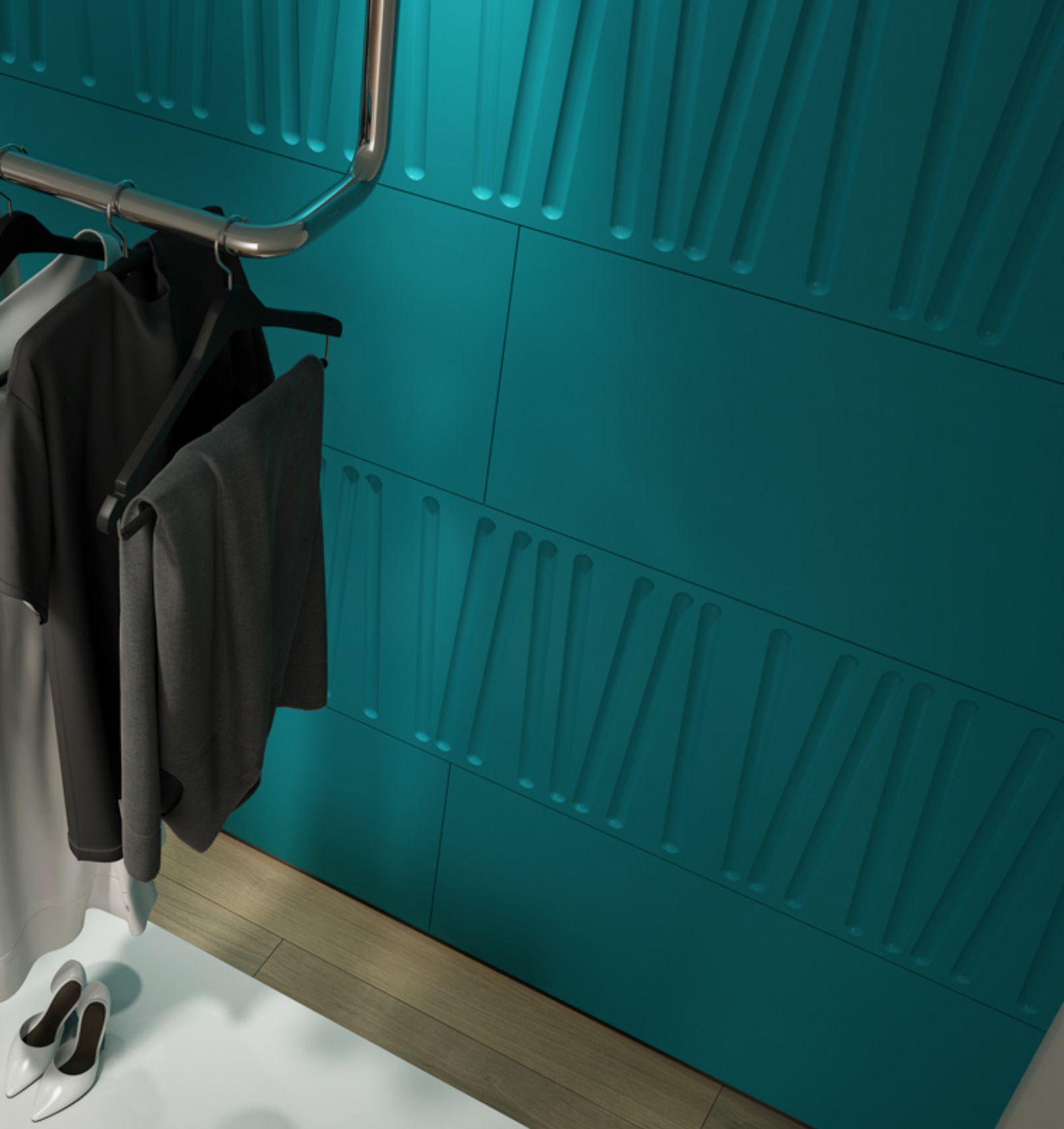 dulap, garderoba sau dressing mdf colorat sculptat 3d linii oblice