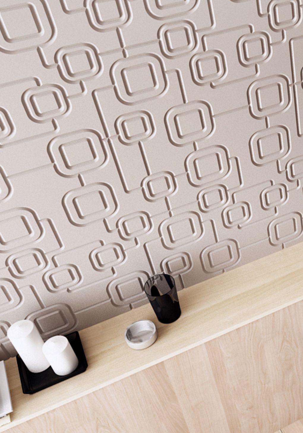 patrate textura 3d perete placat mdf nuanta crem