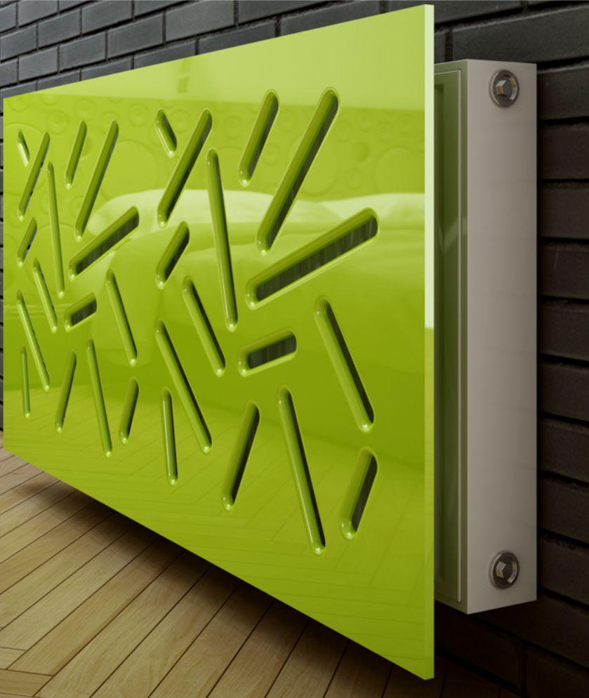 calorifer otel prevazut frontal cu panou mdf vopsit lucios in culoarea verde
