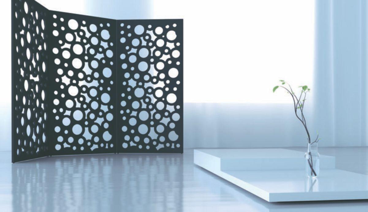 interior locuinta compartimentata cu paravan decorativ 3 piese