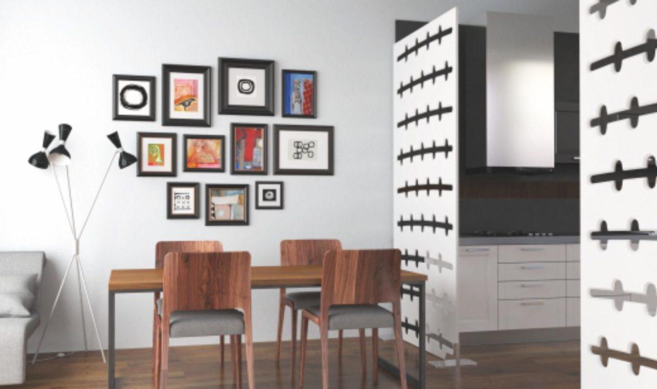 living separat cu perete decorativ traforat
