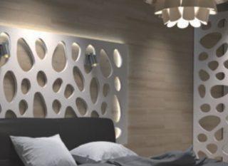 ambient paravan dormitor pat cu tabile iluminata