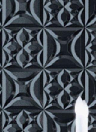 ambient camera perete 3d negru in relief motive geometrice