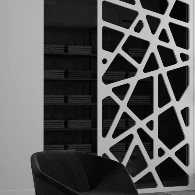 perete decorativ traforat mdf vopsit electrostatic