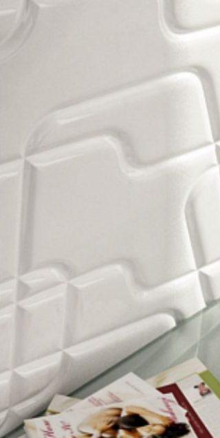 living amenajat cu mobilier mdf vopsit si perete 3d alb