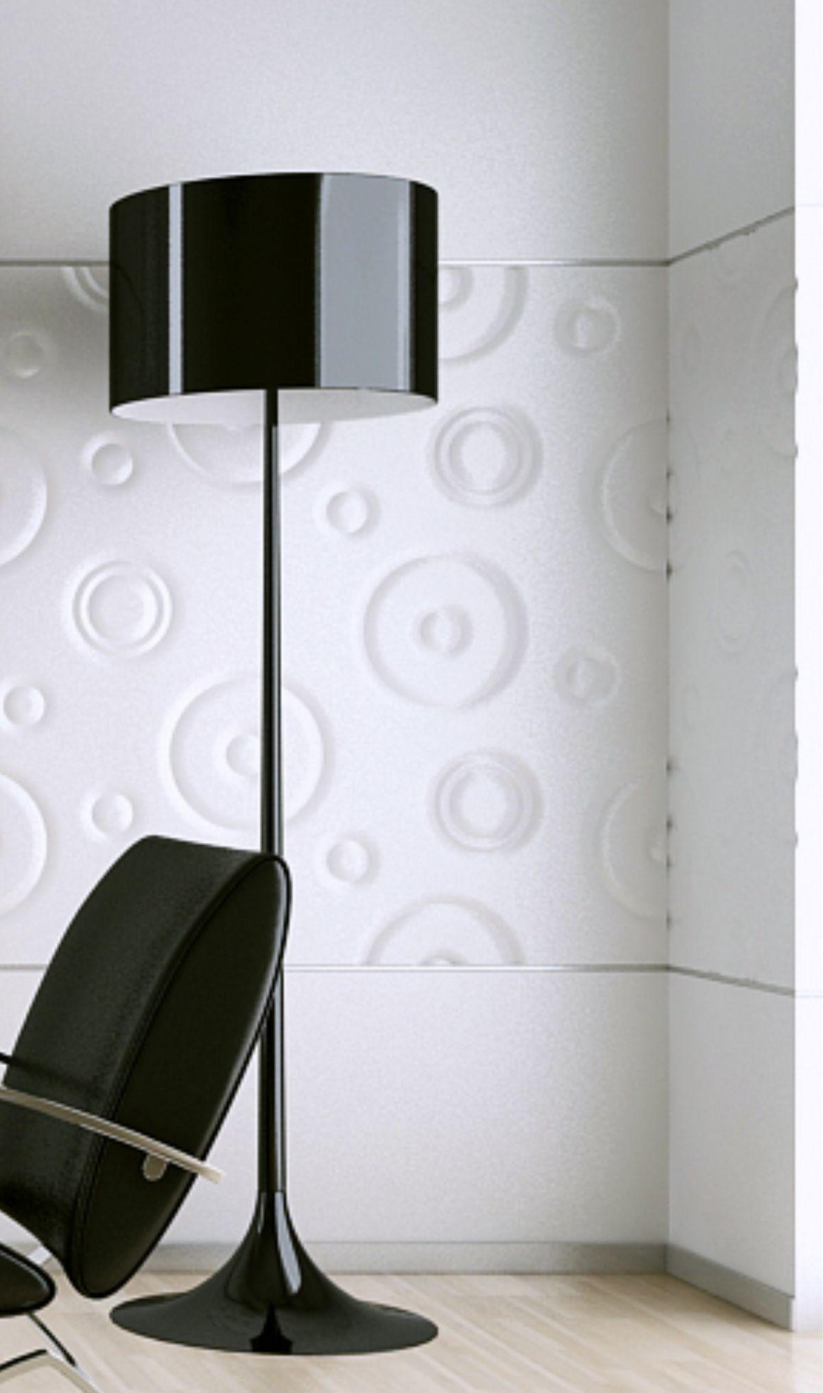 perete spatiu birou modern amenajat placat cu panouri volumetrice vopsite alb