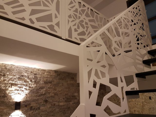 rampa balustrada scara interioara panouri protectie