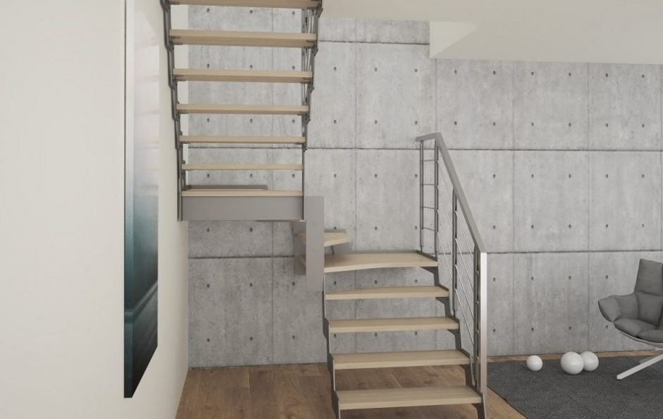 living cu scara interioara stil minimalist, vanguri metalice, trepte lemn masiv, balustrada otel