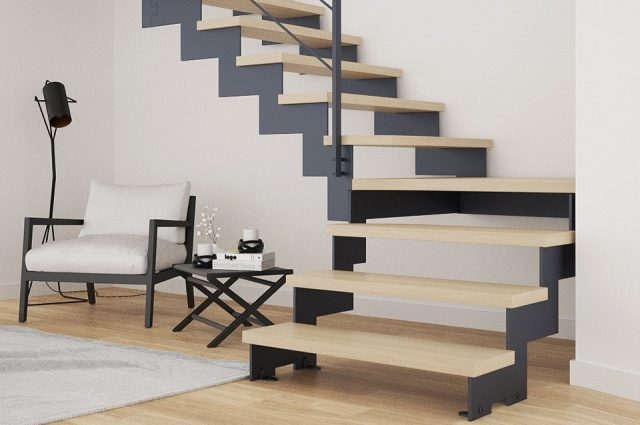 scara interioara living modern trepte lemn