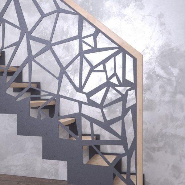 model design scara interioara metalica cu mana curenta si trepte din lemn