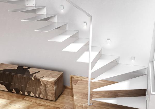 scara interioara moderna design minimalist cu trepte flotante si mana curenta din otel
