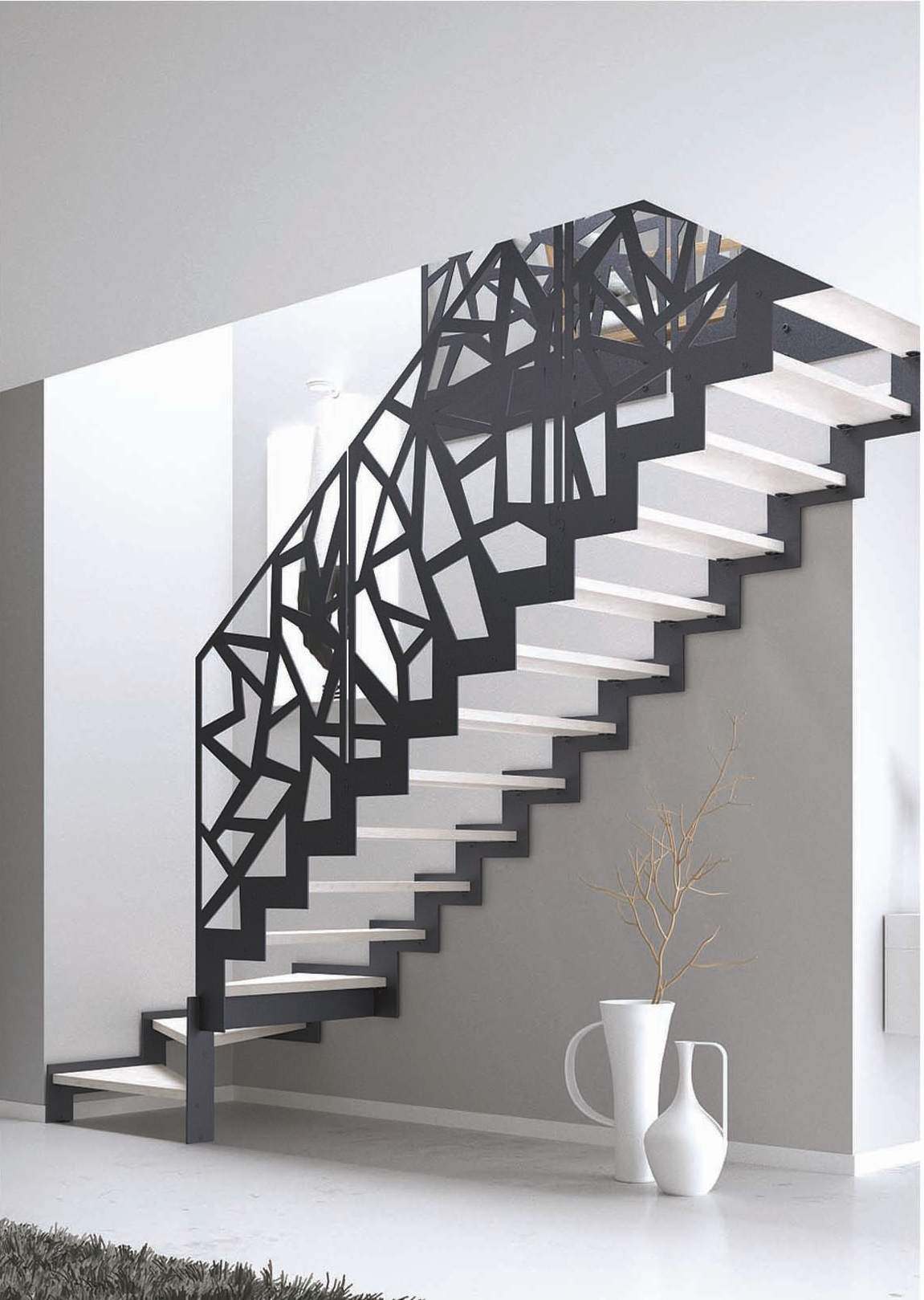 scara interioara contemporana cu balustrada metalica design decorativ