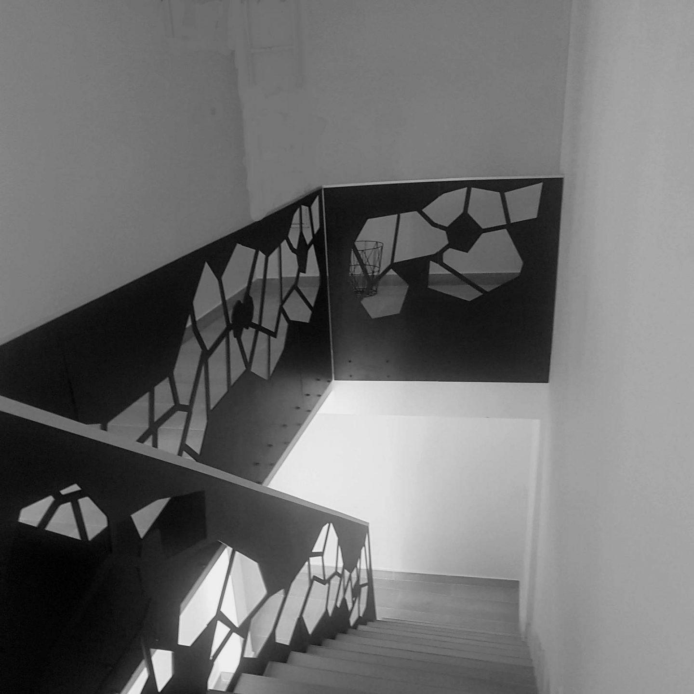 scara interioara cu balustrada pentru rampa si casa scarii