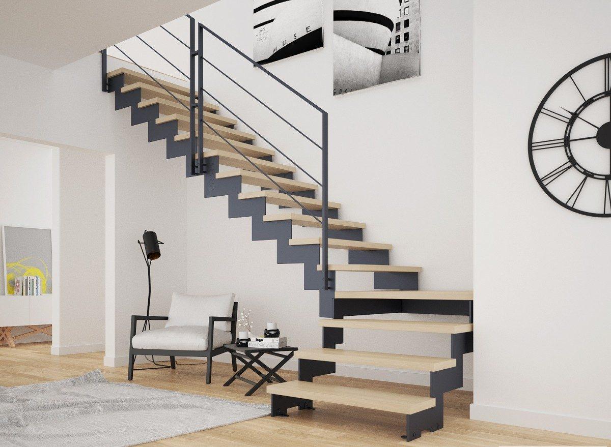 scara metalica interioara trepte lemn balustrada