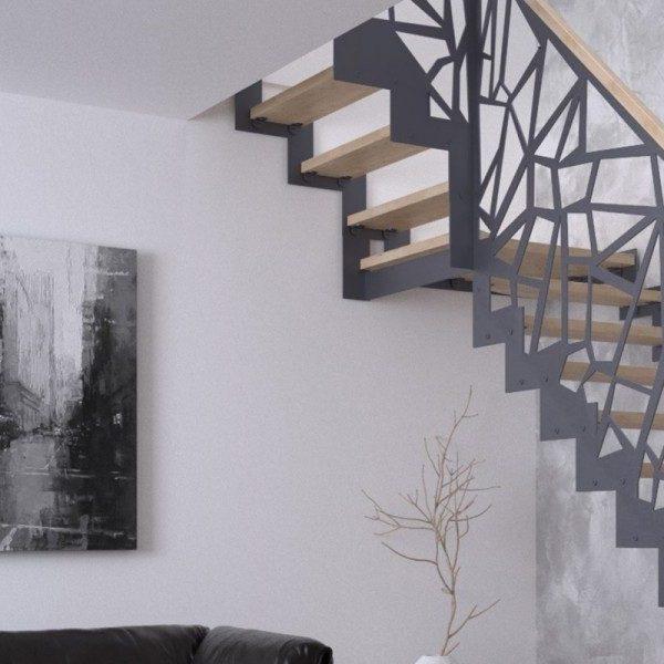 scara interioara pentru mansarda cu balustrada metalica, trepte si mana curenta lemn