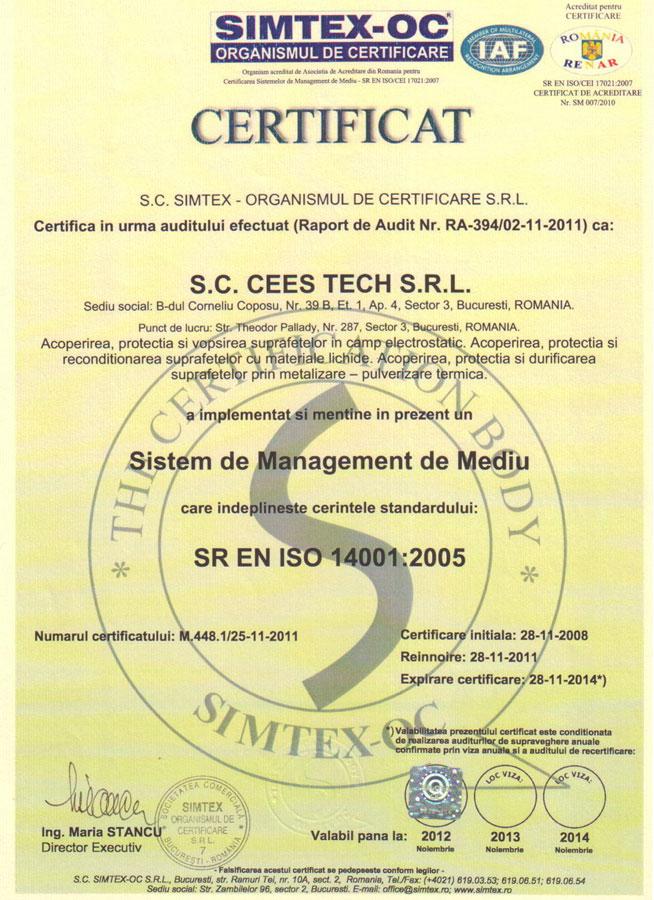 certificat emis de simtex pentru cees tech vopsitorie profesionala, Iso 14001 sistem de management mediu
