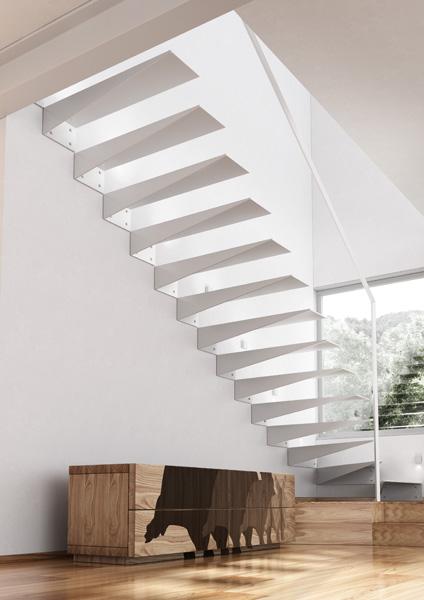 scara interioara cu trepte flotante metalice vopsite alb