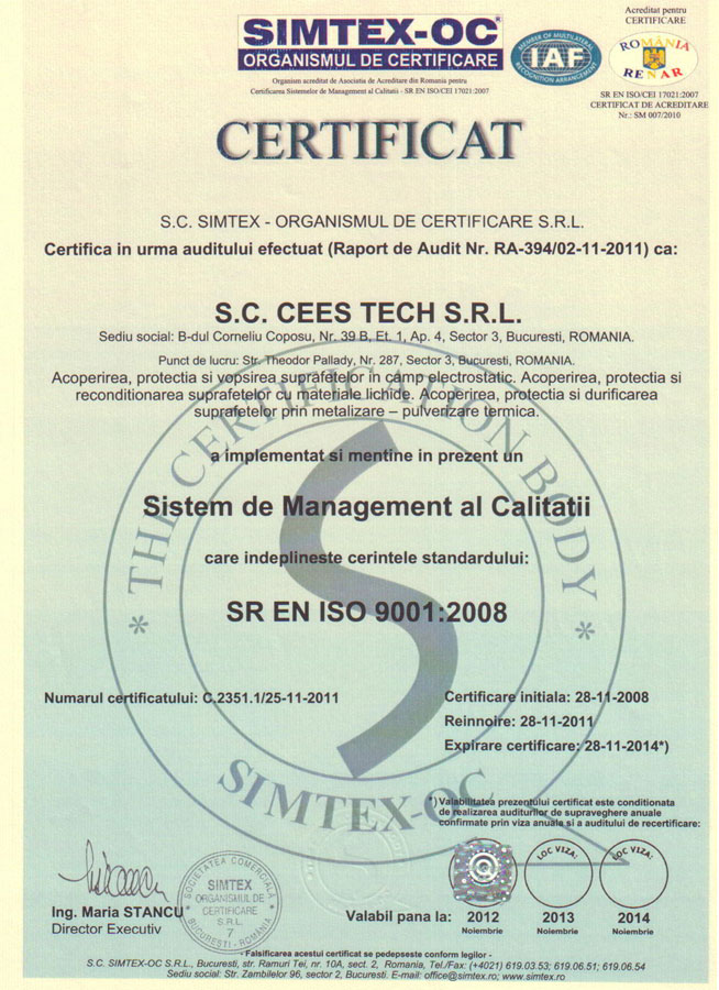 vopsitorie camp electrostatic certificat iso9001